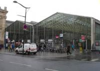 The eastern end of Gare du Nord is outside the main building and is covered by a modern glass structure, as seen in this view of 26 February 2015.<br><br>[David Pesterfield&nbsp;26/02/2015]