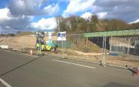 The pedestrian ramp to the Northbound platform at the new Bermuda Park station taking shape on 3 March 2015 The tarmac path adjacent to the former canal [see image 31054] has now been re-opened.<br><br>[Ken Strachan 03/03/2015]