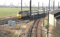 The Virgin Trains East Coast 0952 Aberdeen - Kings Cross HST passes Drem Junction on 19 March 2015.<br><br>[John Furnevel&nbsp;19/03/2015]