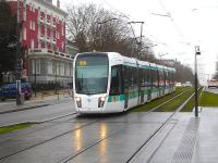 At Cite Universitaire there is interchange between RER line B and RATP tram route T3A. Alstom Citadis 402 tram 313 is running down towards the eastbound tram stop on 25 February en route from Pont du Garigliano to the end to end connection with line T3B at Porte de Vincennes.<br><br>[David Pesterfield&nbsp;25/02/2015]