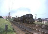 One of Kingmoor shed's Black 5 4-6-0s no 44899 heads south past Busby Junction on 29 May 1964 with a <I>'Radio Times'</I> van train. [See image 44312] <br><br>[John Robin 29/05/1964]