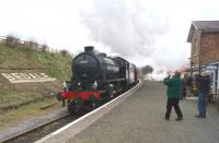 K1 no 62005 passes Bedale station with the <I>Wensleydale and Durham Coast</I> railtour on 21 March 2015. With a number of reversals during the tour, K4 no 61994 <I>The Great Marquess</I> was on the rear of the train.<br><br>[John McIntyre&nbsp;21/03/2015]