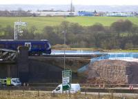 The close proximity of the new M8 extension railway viaduct works to the Cutty Sark bridge. View south from Bargeddie village on 23rd March 2015.<br><br>[Colin McDonald&nbsp;23/03/2015]