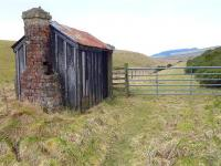 A platelayers hut still survives at Threeburnford on the Lauder Light Railway in March 2015. The line closed in 1958. [Ref query 8855]<br><br>[Bill Roberton&nbsp;18/03/2015]