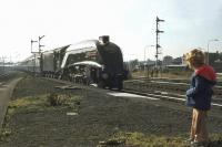 A young fan  looks on as the <I>Speyside Express</I> enters Stirling on 18 September 1976. 60009 <I>Union of South Africa</I> took the special from Edinburgh as far as Perth, where 47037 took over for the journey to Aviemore. Black 5 5025 took charge at Aviemore for a trip over the Strathspey Railway to Boat of Garten. <br><br>[John Robin&nbsp;18/09/1976]