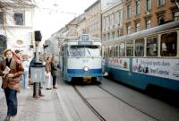 Trams in Gothenburg in March 1990. Some of these trams appear still to be in service in 2015, but with twin headlights to supplement the central one.<br><br>[Colin Miller&nbsp;/03/1990]