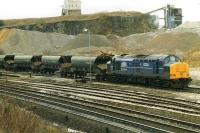 Mainline Blue 37379 attached to a rake of Tiphook bogie hopper wagons in the loading sidings at the RMC quarry at Peak Forest on 6 October 1998.<br><br>[David Pesterfield&nbsp;06/10/1998]