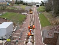 Track work in progress in the area around Kings Gate points on the Borders Railway just south of the Edinburgh City Bypass on 27 March 2015. <br><br>[John Furnevel&nbsp;27/03/2015]