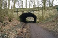 Looking north on 18 March 2015 along the trackbed of the former Bishop Auckland to Spennymoor and Ferryhill line under a bridge that leads to Auckland Castle some distance away to the left. The location is north of the former Coundon station and the footpath is known as the Auckland Way.<br><br>[John McIntyre&nbsp;18/03/2015]