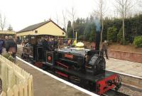 <I>'Sybil Mary'</I> [Hunslet Engineering 921/1906] in action on the Statfold Barn Railway on 28 March 2015.<br><br>[Peter Todd&nbsp;28/03/2015]