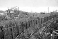 Looking across the running lines from the up side towards the signal box at Gartsherrie South Junction in November 1977 [Ref query 4423]<br><br>[Bill Roberton&nbsp;/11/1977]