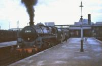 One of St Rollox shed's Caprotti valve-geared BR Standard class 5s, no 73146, calls at Stirling on a dull February afternoon in 1965 with a train for Dundee.<br><br>[John Robin&nbsp;07/02/1965]