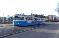 A calm-looking double unit tram in Gothenburg on 14 March 2015. It has not had to go through the major junction where all the traffic aggro gets them Angered. [See image 50729]<br> <br><br>[Colin Miller&nbsp;14/03/2015]