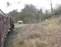 The main line connection for the Wensleydale Railway is a reversing siding at Castle Hills Junction alongside the ECML just north of Northallerton station.  K1 62005 sets off for Redmire on 21 March with the <I>Wensleydale and Durham Coast</I> tour that had originated at Carnforth that morning. [See image 50768] for the view from the other side of the train at this location. <br><br>[Mark Bartlett 21/03/2015]