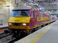 DBS 90020 at platform 11, Edinburgh Waverley, on 26 March, shortly after its arrival from Polmadie carriage sidings with the stock for the Euston sleeper. <br><br>[Bill Roberton&nbsp;26/03/2015]