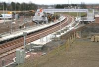 Work continuing at the new Shawfair station on 27 March 2015 with the footbridge the centre of activity on this occasion. View south towards Sheriffhall. <br><br>[John Furnevel&nbsp;27/03/2015]
