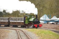 Hunslet 0-4-0ST <I>Howard</I> (1842/1936) with a train on the Statfold Barn Railway on 28 March 2015.<br><br>[Peter Todd&nbsp;28/03/2015]