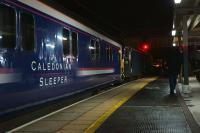 The first run of the Caledonian Sleeper under the new operator, Serco, at Preston station at 0100 on 1 April 2015. The train is the 1S25 London Euston to Aberdeen, Fort William and Inverness with traction supplied by GBRf in the form of 92018. <br><br>[John McIntyre&nbsp;01/04/2015]