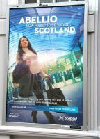 One of a number of Abellio platform posters unveiled at Stirling station on 1 April 2015, the first day of the new ScotRail franchise. <br><br>[John Furnevel&nbsp;01/04/2015]