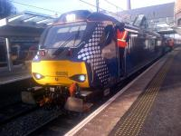 68006 <I>Daring</I> recently arrived at Haymarket on 1 April 2015 with a Fife Circle service for Waverley.<br><br>[John Yellowlees&nbsp;01/04/2015]