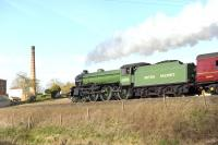 B1 61306 <I>'Mayflower'</I> at speed passing Crofton Pumping Station on the GWR Berks and Hants Line on 1 April 2015 with the <I>Cathedrals Express</I> bound for Kingswear.<br><br>[Peter Todd&nbsp;01/04/2015]