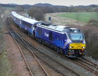 68006 <I>Daring</I> in ScotRail livery passes Inverkeithing East Junction with the 17.08 Edinburgh - Fife - Edinburgh commuter train on 2 April. [68007 has received similar treatment.]<br><br>[Bill Roberton&nbsp;02/04/2015]