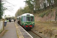 The Weardale Railway Trust operated their first service of 2015 on Mothering Sunday, 15 March 2015, utilising a Class 121 railcar. The service is seen here at Wolsingham with passengers boarding for the second trip to Stanhope.<br><br>[John McIntyre&nbsp;15/03/2015]