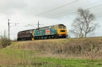 With less than 48 hours before the Network Rail suspension came into force West Coast 47580 <I>County of Essex</I> and 47760 run light engine from Preston to Carnforth at Garstang & Catterall on 1st April. The Brush 4s had brought <I>The Pendle Dalesman</I> from Rugby to Preston for onward S&C haulage by 45699 <I>Galatea</I>. <br><br>[Mark Bartlett&nbsp;01/04/2015]