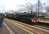 Ex LMS Jubilee 45690 <I>Leander</I> heads south at Leyland with the Preston to Shrewsbury leg of the <I>Salopian Express</I> on 28 March 2015. The tour had earlier arrived at Preston from Bishop Auckland diesel hauled.<br><br>[John McIntyre&nbsp;28/03/2015]