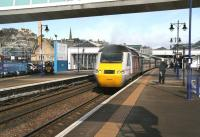 The VTEC 0755 Inverness - Kings Cross <I>Highland Chieftain</I> about to pull away from the Stirling stop on 1 April 2015. <br><br>[John Furnevel&nbsp;01/04/2015]