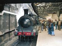 The SRPS preserved J36 no 673 <I>Maude</I> at Edinburgh Waverley 'sub' platforms with the 'Rainhill Commemorative' from Falkirk - Edinburgh - Inverkeithing and return on 4 May 1980, a rehearsal for her epic trip to Rainhill.<br><br>[Bill Roberton&nbsp;04/05/1980]