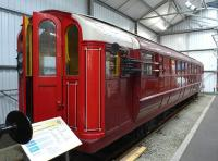 Glasgow Subway car 55 on display at SRPS Bo'ness on 6 April, a new exhibit.<br><br>[Bill Roberton&nbsp;06/04/2015]