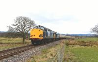 DRS 37607+37218 double heading the 1Z69 Pathfinder Tour to Kyle of Lochalsh north of Beauly on 4 April 2015.<br><br>[John Gray&nbsp;04/04/2015]