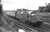 With what by Deltic standards was a rather understated exhaust (although the noise was doubtless up to standard) No 9006 <I>The Fife and Forfar Yeomanry</I> accelerates   the 08:00 Kings Cross - Edinburgh away from the Berwick stop on 19 September 1970.<br><br>[Bill Jamieson&nbsp;19/09/1970]