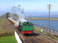 Ex-NCB Comrie Colliery no.19 (Hunslet 3818 of 1954) arrives at Bo'ness on 6 April with a service from Manuel.  In the background is the doomed Longannet Power Station.<br><br>[Bill Roberton&nbsp;06/04/2015]