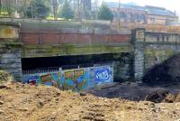Recent clearance of the cutting allows a view of the mouth of the tunnel that carried the line from Partick Central towards Stobcross. View south east on 9 April 2015. <br><br>[Colin Miller&nbsp;09/04/2015]
