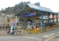 This view of the entrance to Llandudno Victoria illustrates the gradient in the station but this steepens considerably as the tram proceeds up the hill. Gradients on the upper section are much less severe. Photo taken one week before opening for the 2015 season but with everything shipshape and ready to go.  <br><br>[Mark Bartlett&nbsp;16/03/2015]