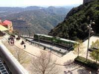 Scene at the top of the Montserrat Rack Railway on 10 April 2015. The line climbs from Monistrol de Montserrat up to the mountain-top monastery.<br><br>[Bruce McCartney&nbsp;10/04/2015]