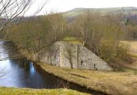 Looking north-west across the River Wear towards Frosterley on 15 March 2015, showing the bridge abutment of a line that left the Wear Valley Railway and climbed up to one of the many quarries in the area.<br><br>[John McIntyre&nbsp;15/03/2015]