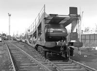 A Renault car train waiting for unloading to be completed in Leith South yard on 9 March 1981.<br><br>[Bill Roberton&nbsp;09/03/1981]