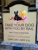 Reproduction 'Big Four' railway poster <I>'Take your Dog with you by Rail'</I> by Mabel Gear c1935 [part of the NRM railway poster collection.] Photographed at Edinburgh Waverley on 13 April 2015. <br><br>[David Panton&nbsp;13/04/2015]