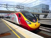 Pendolino 390103 in WW1 Remembrance livery, London bound at Milton Keynes Central on 12 April 2015.<br><br>[John Steven&nbsp;12/04/2015]