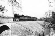 D20 4-4-0 2344 of Tweedmouth shed with a Berwick - Kelso train approaching the meeting point of NE and NB metals at Mellendean, Kelso, on the afternoon of 25 March 1947.