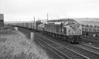 EE Type 4 No. 276 passes between Tweedmouth Yard and the closed MPD with the 11:50  Aberdeen to Kings Cross Freightliner on 19 September 1970. While a bulled-up green class 40 could look very smart [see image 26757], my opinion is that in more typical condition they looked drab in the extreme and that the blue livery was actually an improvement, something not necessarily the case for every class.<br><br>[Bill Jamieson&nbsp;19/09/1970]