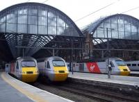 Virgin East Coast HST line-up at Kings Cross on 13 April 2015, with 43317; 43312; and an unidentified classmate awaiting their next turns. <br><br>[Andrew Wilson&nbsp;13/04/2015]
