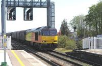 Colas 60076 runs through Didcot on 15 April 2015 with a rake of steel coil wagons.<br><br>[Peter Todd 15/04/2015]