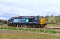 37425 comes off the curve west of Beauly on a route learning trip to Wick on 13 April 2015.<br><br>[John Gray&nbsp;13/04/2015]