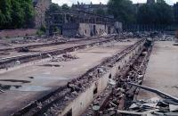 Remains of the largely demolished Hyndland Depot in 1988. The view looks to the buffer stops from what had been the inside of the building.<br><br>[Ewan Crawford&nbsp;//1988]