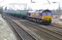 DBS 66221 passes Coatbridge Central on 17 March 2015 with the 6S36 Dalston - Grangemouth empty tanks.<br><br>[Bill Roberton&nbsp;17/03/2015]