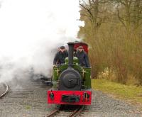 Hunslet Engineering Quarry 0-4-0ST <I>Jack Lane</I> (3904 of 2005) in action at Statfold Barn on 28 March 2015.<br><br>[Peter Todd&nbsp;28/03/2015]